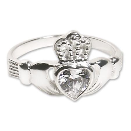 anello fidanzamento irlandese claddagh ring argento cuore zircone