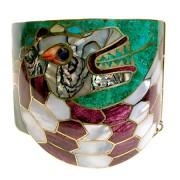 bracciale_quetzalcoatl_serpente_piumato_ottone_madreperla_pietre