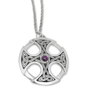 celtic cross with semi precious stone
