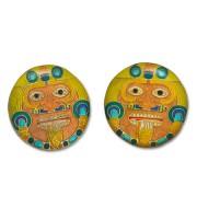 gioielli etnici - orecchini con tonatiuh, dio del sole