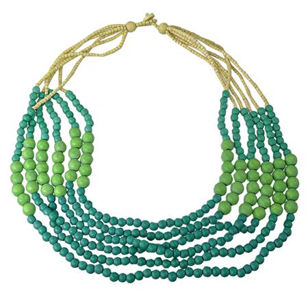 prezzo imbattibile alta qualità prezzo competitivo Collana di legno colorato verde – moda