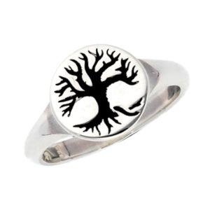 anello in argento con albero della vita - ygghdrasil